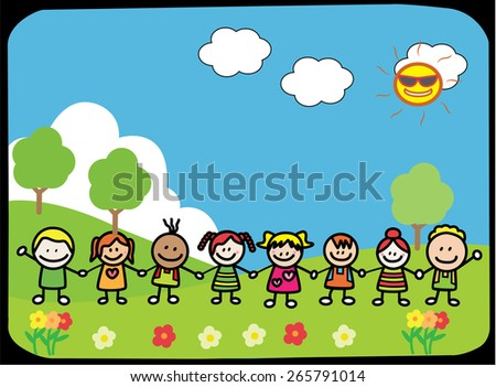 Happy children holding hand at Park - stock vector