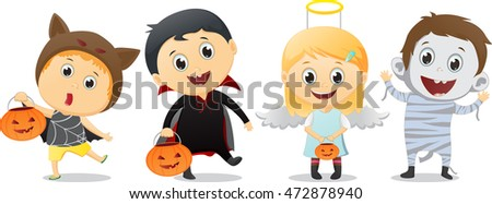 happy children in Halloween party trick or treating
