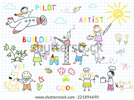 Happy children in work wear. Sketch on notebook page - stock vector
