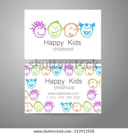 Happy children logo. Template design sign for school, kindergarten, summer camps, children's team and others. Branded business card. - stock vector