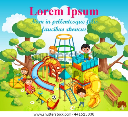 Happy children playing and having fun at the playground in the middle of the park. Vector illustration.