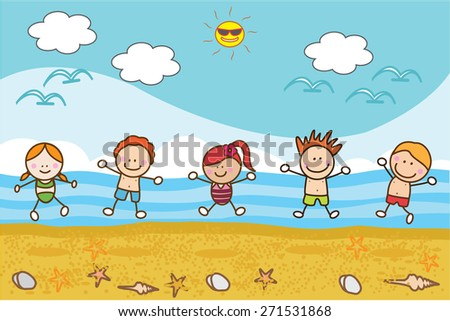 Happy children playing at beach - stock vector