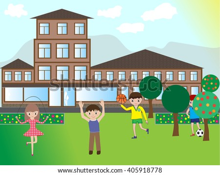 Happy children playing in the street near the house. Vector illustration.