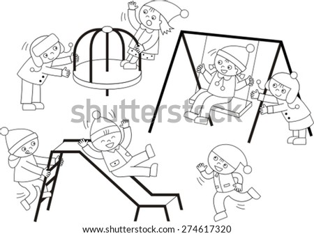 happy children playing on the playground - stock vector
