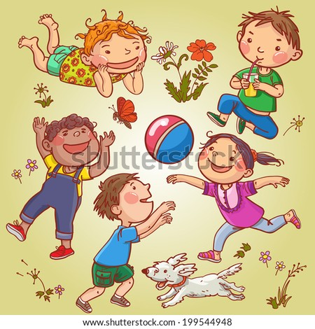 Happy Children playing. Summer activities CAMP. Children illustration for School books, magazines, advertising and more. Separate Objects. VECTOR. - stock vector