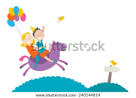 Happy children riding a horse, horizontal composition - stock vector