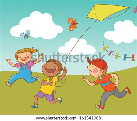 Happy Children Running Outside with the Kite. Great illustration for a school books, advertising and more. VECTOR. - stock vector