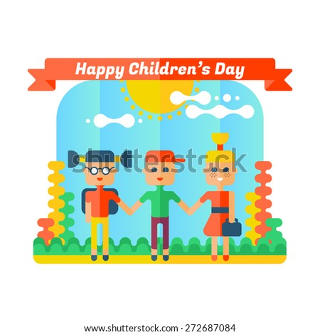 Happy children's day greeting card. Flat illustration.  - stock vector