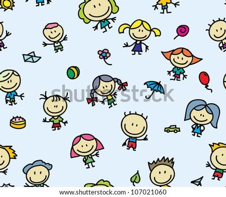 Happy children seamless background - stock vector