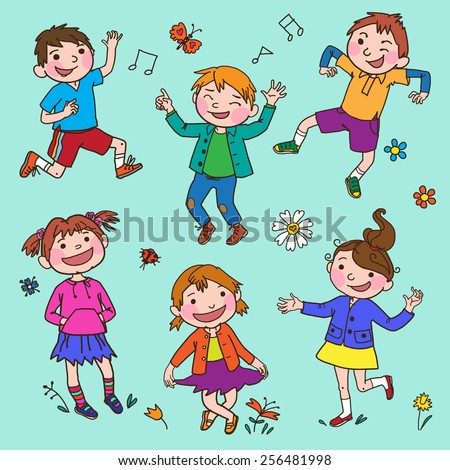 Happy children Set. Summer Activities. Children illustration for School books, advertising, magazines and more. Separate / Isolated Objects. VECTOR.