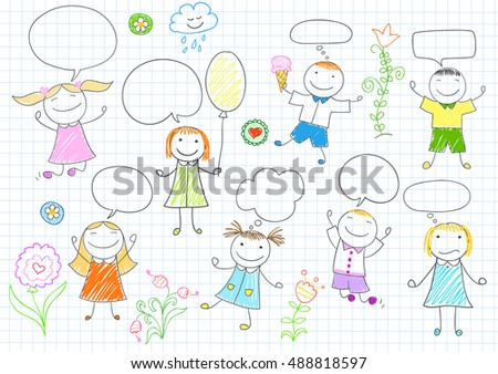 Happy children. Smiling girls and boys with comic speech bubbles. Vector sketch in doodle style on notebook page