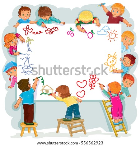 happy children together draw on a large sheet of paper - Pictures Of Kids Painting