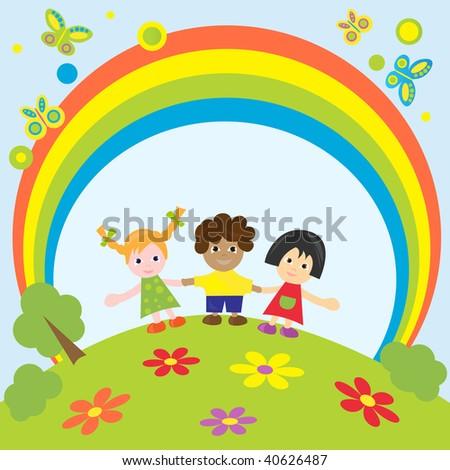 Happy children.Vector illustration. - stock vector