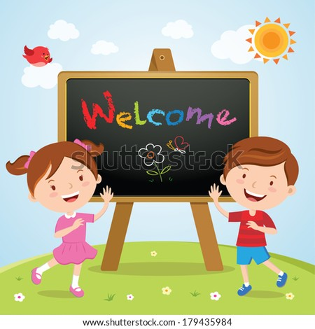 Happy children with a sign board. Welcome to school. - stock vector