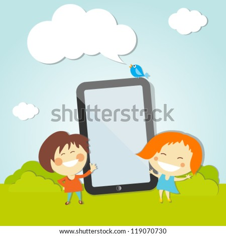 Happy  Children With Digital Tablet
