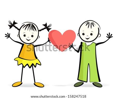 Happy children with heart. Vector illustration. - stock vector