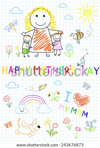 Happy children with mom. Sketch on notebook page