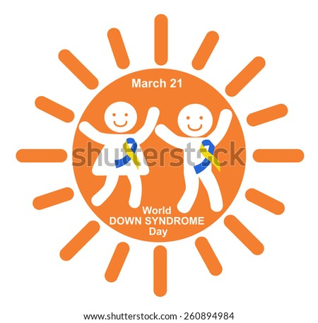 Happy children with ribbons symbolizing Down syndrome - stock vector