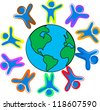 Happy childrens around the world illustration - stock vector