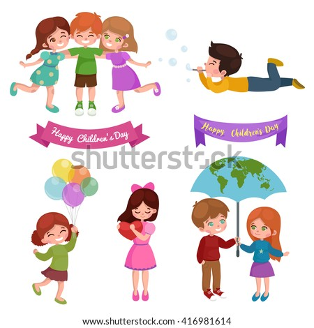 happy childrens day greeting card design vector illustration, cute baby fun with balloons, happy cartoon girl and boy play together, kids party isolated concept background - stock vector