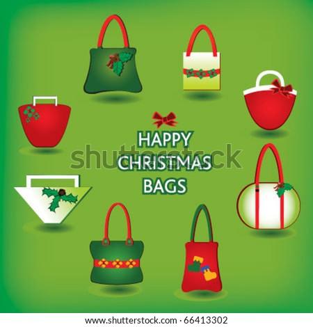 Happy christmas bags - stock vector