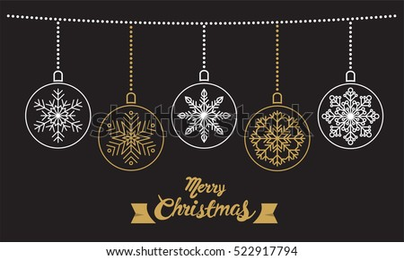 Happy Christmas calligraphy with snowflake for banner, poster, greeting card, party invitation.