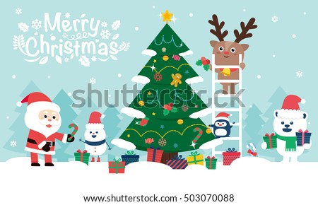 Happy Christmas companions.  vector illustration