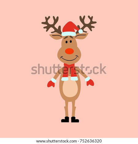 Happy Christmas Cute Deer Red Nose And Scarf Isolated On Background Vector illustration