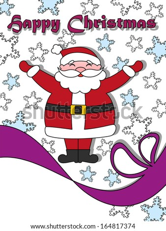 Happy Christmas greeting card with Santa Claus. Copy space in left bottom corner. - stock vector
