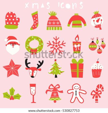 Happy christmas icon set merry xmas stock vector 530827753 happy christmas icon set merry xmas illustrationseason greetingholiday m4hsunfo