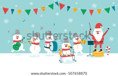 Happy Christmas Party. Santa Claus and Snowman. vector