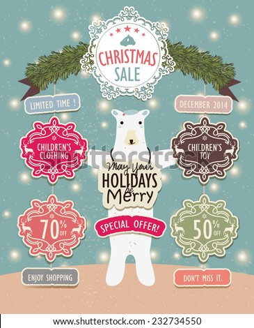 Happy Christmas Sale - stock vector
