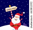 Happy Christmas Santa with North pole sign. Vector Illustration - stock vector