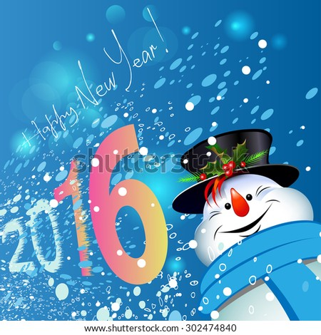 Happy Christmas. Snowman. Close-up. New Year. 2016. Merry Christmas. Blue background. Snowflakes, snow. Design. Vector - stock vector