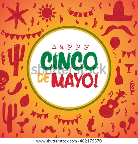 Happy Cinco De Mayo greeting card.  - stock vector
