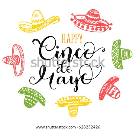 Happy cinco de mayo greeting card stock vector hd royalty free happy cinco de mayo greeting card with hand drawn phrase and doodle sombreros m4hsunfo