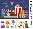 Happy Circus carnival with drum and guitar musicians, popcorn, fireworks, lion and food cart. Flat Vector stock illustration set with isolated items and characters.  - stock photo