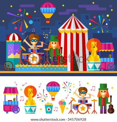 Happy Circus carnival with drum and guitar musicians, popcorn, fireworks, lion and food cart. Flat Vector stock illustration set with isolated items and characters.  - stock vector