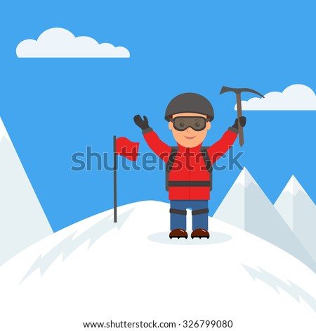 Happy climber reached the summit of the mountain - stock vector
