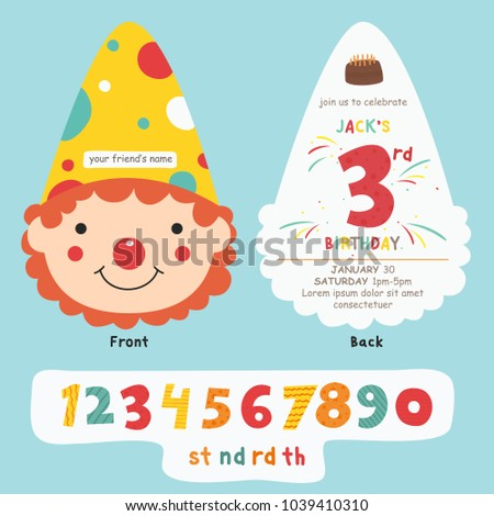Happy Clown Birthday Invitation Card Template Stock Vector
