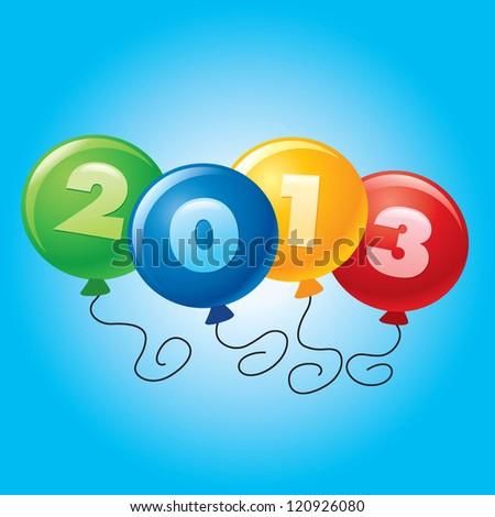 happy color balloons year 2013 - stock vector
