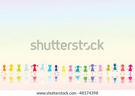 Happy colored children - stock vector