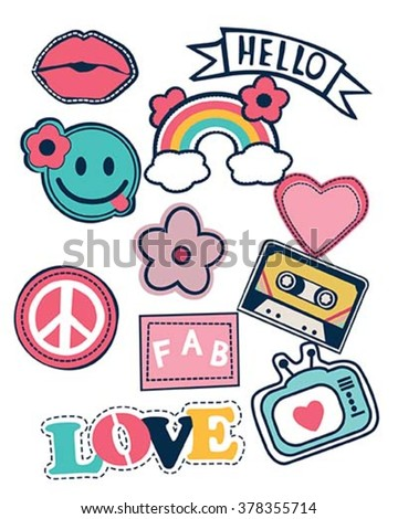 happy colorful patches collection - stock vector
