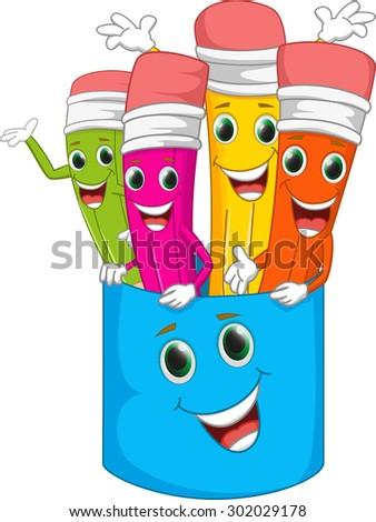 happy colorful pencil cartoon - stock vector