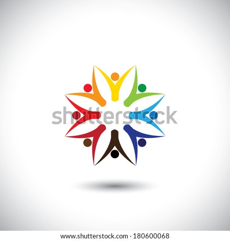 happy colorful people community in circle - concept vector. This graphic also represents motivated people, team work and team building, inspired employees, children & kids enjoying - stock vector
