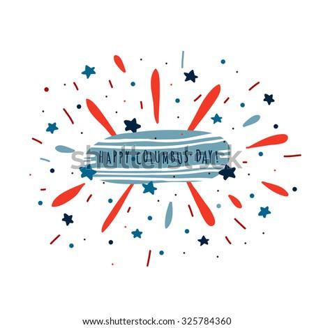 Happy Columbus Day card - stock vector