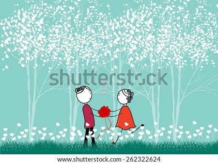 Happy couple in love - valentines day, wedding-Vector illustration   - stock vector