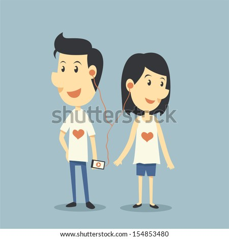 Happy couple in love with playing song - stock vector