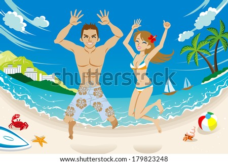 Happy couple  jumping in tropical beach. - stock vector