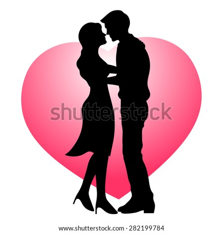 happy couple lover kissing with heart background, wedding card or engagement, engage, valentines day, happiness, vector design - stock vector